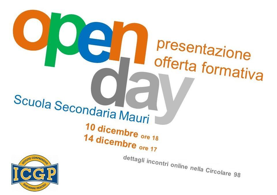 """Open Day  Scuola Secondaria """"MAURI"""""""